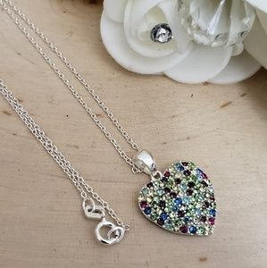 Jewelry - 925 Sterling Silver Color Crystal Heart Necklace